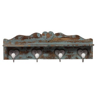 Distressed Blue Wooden Wall Hook