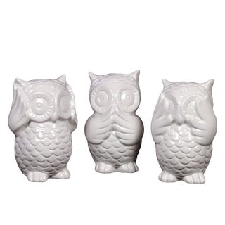 White Antique Finish Ceramic Owl (Set of 3)