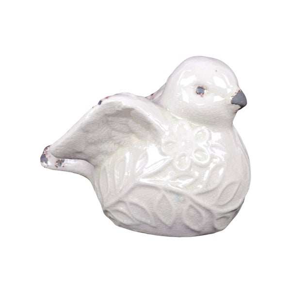 White Ceramic Decorative Bird Figurine