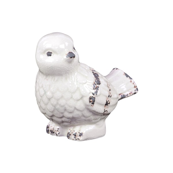 Snow White Ceramic Decorative Bird Figurine