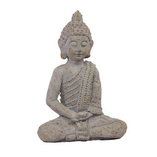 Antique White Cement 17.5-inch Sitting Buddha Statue
