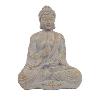 Antique White Cement 22-inch Sitting Buddha Statue