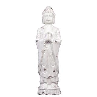 White Ceramic Standing Buddha Statue