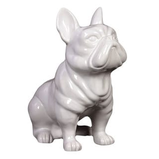 White Glazed Ceramic Dog Figure