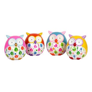 Ceramic Owl Bank 4-piece Set