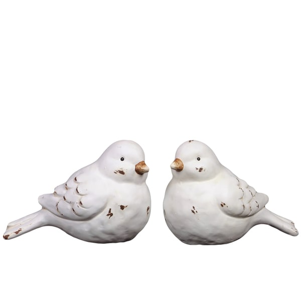 White Ceramic Nesting Birds 2-piece Set