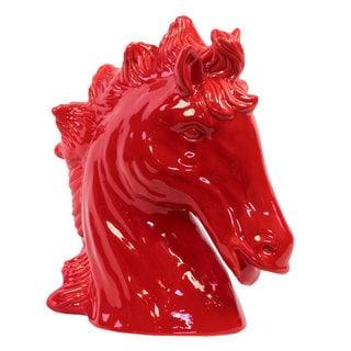 Red Ceramic Horse Head