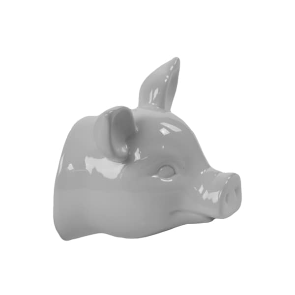 White Ceramic Pig Head Wall Decor