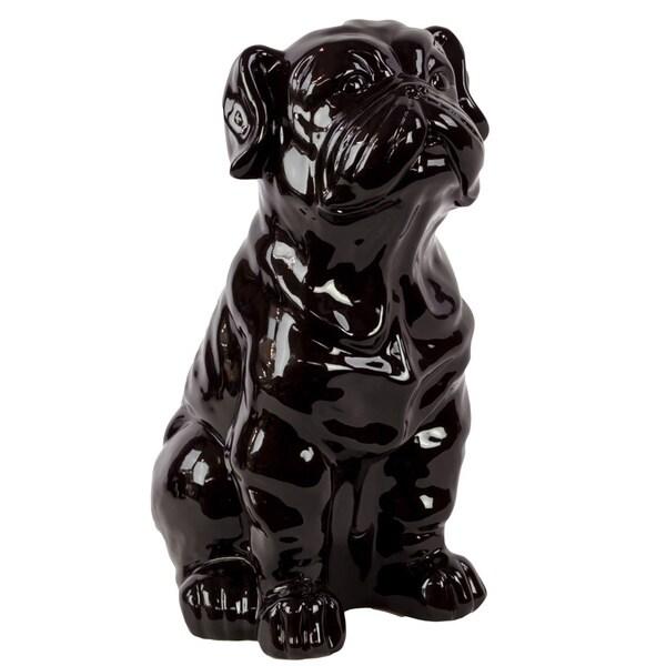 Black Ceramic Sitting Dog