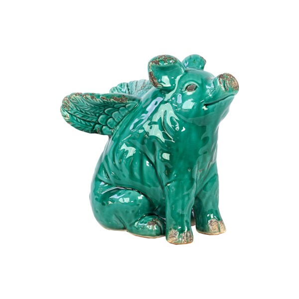 Turquoise Ceramic Flying Pig