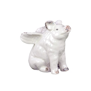 White Ceramic Flying Pig