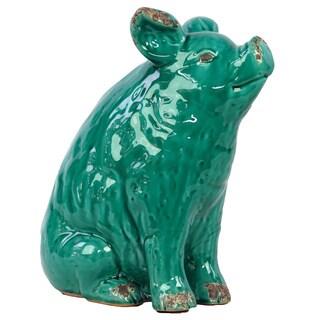 Turquoise Ceramic Pig