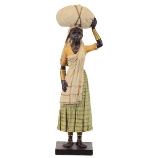 Black Yellow Resin African Woman Statue