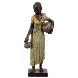 Black Yellow Resin African Woman Water Jugs Statue