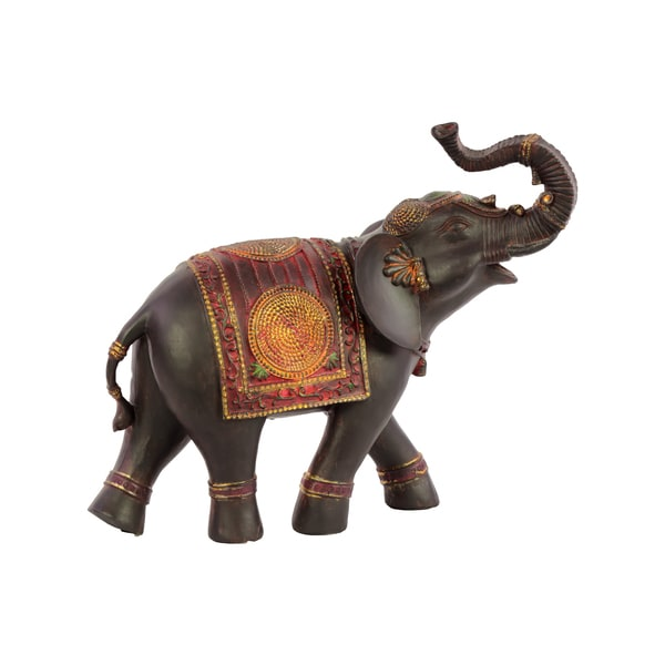 Resin Elephant with Red Blanket Statue