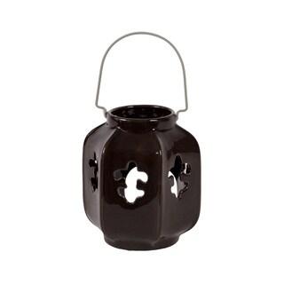 Dark Ceramic Fleur de Lis Lantern