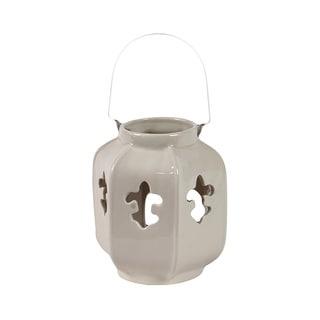 Light Ceramic Fleur de Lis Lantern