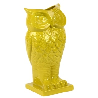 Yellow Ceramic Owl Vase
