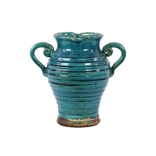 Tuscan Turquoise Double-handled Ceramic Vase