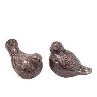 Purple Ceramic Birds (Set of 2)