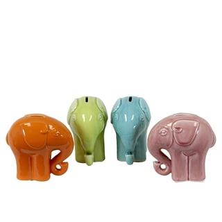 Assorted Ceramic Elephant Banks (Set of 4)