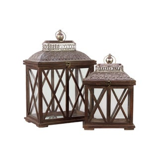 Brown Antiqued Wooden Lanterns (Set of 2)