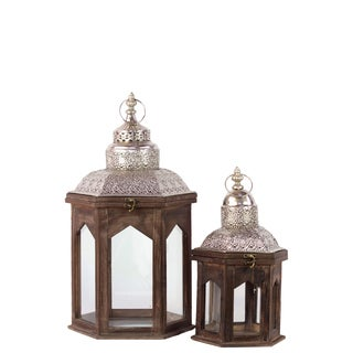 Brown Antique Wooden Lanterns (Set of Two)