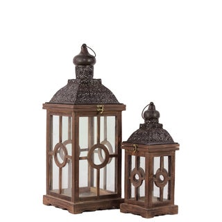 Rustic Antique Finish Wooden Lantern (Set of 2)