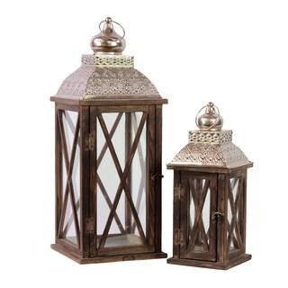Brown Wooden Lattice Window Lantern (Set of 2)