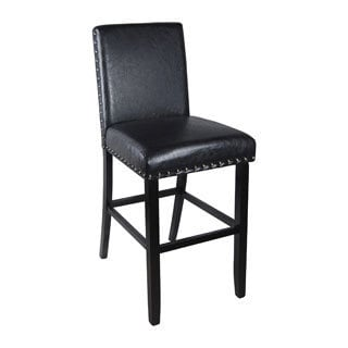 Luxury Dark Brown Faux Leather Barstool