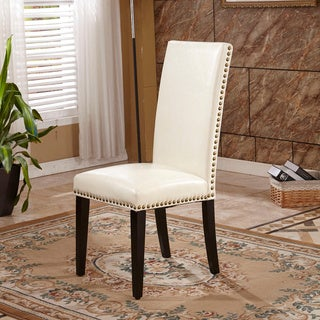 Classic Creamy White Faux Leather Parson Chairs (Set of 2)