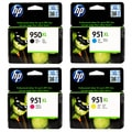 HP 950XL 951XL Black and Color Ink Cartridge Set (1 Black, 1 Cyan, 1 Magenta, 1 Yellow)
