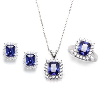 Sterling Essentials Silver Purple Cubic Zirconia Necklace, Earrings and Ring Set