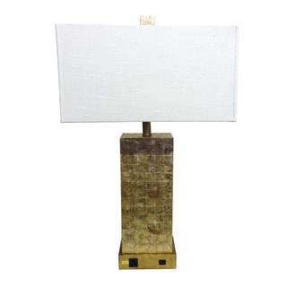 Capiz Tiles Rectangular Table Lamp with Outlet