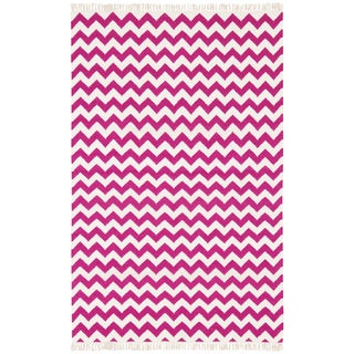 Hand Woven Flat Weave Purple Electro Wool Rug (10' x 14')