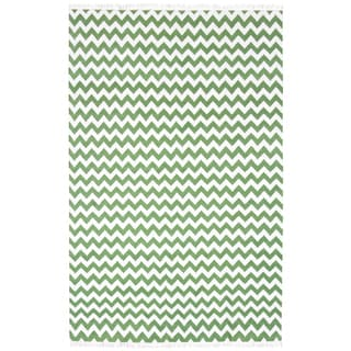 Hand Woven Flat Weave Green Electro Wool Rug (10' x 14')