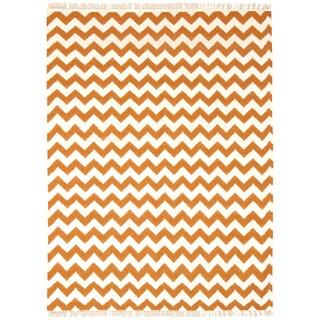 Hand Woven Flat Weave Orange Electro Wool Rug (8' x 10')