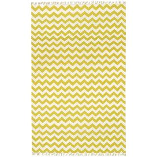 Hand Woven Flat Weave Yellow Electro Wool Rug (8' x 10')
