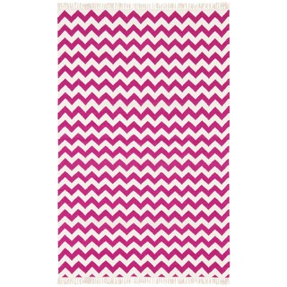 Hand Woven Flat Weave Purple Electro Wool Rug (8' x 10')