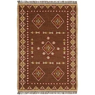 Hand Woven 4x6' Bradford Jute & Wool Flat Weave Rug