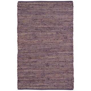 Hand Woven Purple Jeans Denim/ Hemp Rug (5' x 8')