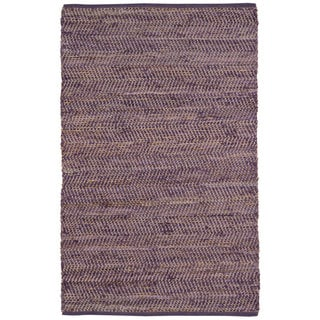 Hand Woven Purple Jeans Denim/ Hemp Rug (5' x 8')