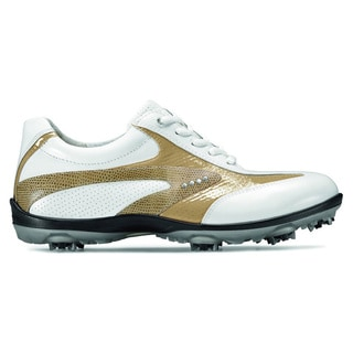 ECCO Ladies Casual Cool White and Sand Golf Shoes