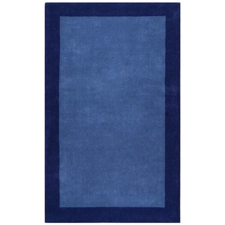 Blue Border Pulse Hand Tufted Wool 5x8' Rug