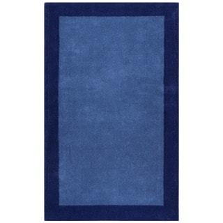 Blue Border Pulse Hand Tufted Wool 4' x 6' Rug