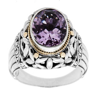 18k Yellow Gold/ Sterling Silver Amethyst Ring