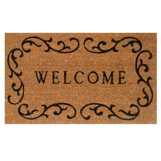 "Welcome Curlicue-Coir with Vinyl Backing Doormat (17"" x 29"")"