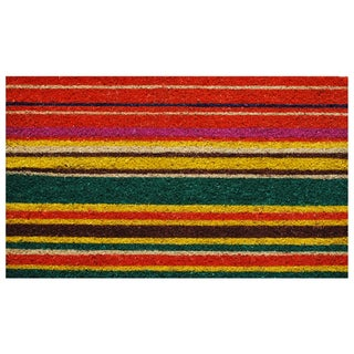 "Multi-stripe-Coir with Vinyl Backing Doormat (17"" x 29"")"