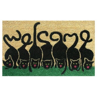 "Cats Welcome-Coir with Vinyl Backing Doormat (17"" x 29"")"
