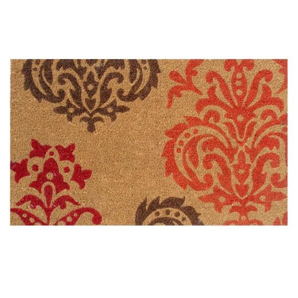 Orange Baroque Coir with Vinyl Backing Doormat (1'5 x 2'5)